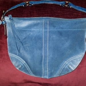 Coach Hobo Blue Suede